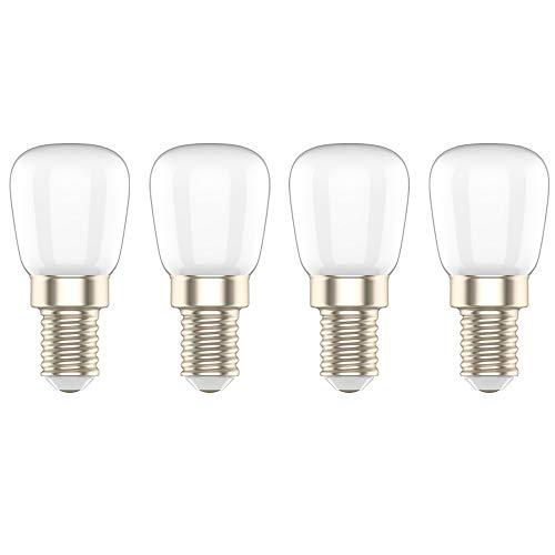 Lampadina LED Attacco Piccolo E14,Bianco Caldo 3000K,3W Equivalenti a 20W, Smerigliata,AC220V,per Frigorifero/Congelatori/Macchina da cucire,4 pezzi