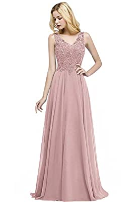 Dry clean only/flat dry/low iron Long A-line v neck sleeveless formal evening gowns Features rhinestones embellished lace appliques,sheer back,flare long chiffon skirt. Ideal choice as a formal dress for prom,evening party,gala,military ball,black ti...