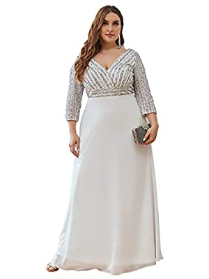 Fully lined, no built-in bras, low stretch Features: V Neck, Long Sleeve, Empire Waist, Plus Size£¬A Line, Maxi Dresses Maxi A-line Chiffon dress, the dress makes you look charm, this cockatil dress is young and fashion Perfect as bridesmaid dress, w...
