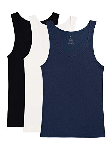 Texere Men's Bamboo Viscose Ribbed Tank (Remie, BLK/NWH/MID, MT) Valentines Gift