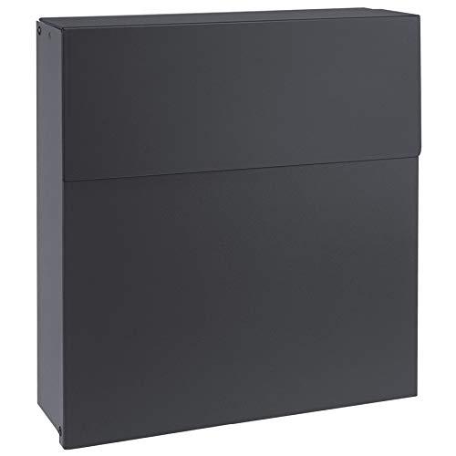 Design-Briefkasten anthrazit-grau (RAL 7016) MOCAVI Box 570 hochwertiger Wand-Postkasten groß modern wetterfest rostfrei Wandbriefkasten mit Zeitungsrolle deutsche Markenqualität