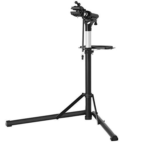 SONGMICS Fahrradmontageständer, Aluminium Montageständer für Fahrräder, Reparaturständer mit magnetischer Werkzeugschale, Reparaturset, höhenverstellbar, leicht, schwarz SBR04B