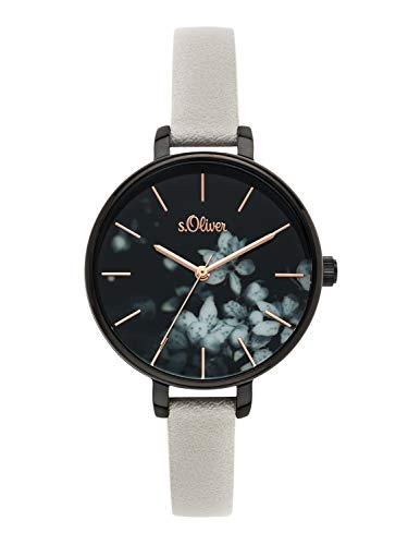 s.Oliver Time Damen Analog Quarz Uhr mit PU Armband SO-3590-LQ
