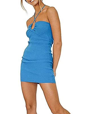 Asian size, Size Up Please!!! Material:Made of polyester, lightweight and breathable, soft and skin-friendly. E girl halter bodycon dress,best fashion summer dress for women 2021,hottest beach sundress,sexy party club dress. Asian size, Size Up Pleas...