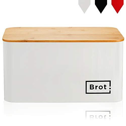 LuxCity Brotkasten - moderner Brotkasten Brotbox mit Bambus Deckel als Schneidebrett, Brotbehälter mit Luftzirkulation, GRATIS Behälter für Kaffee/Tee dazu! Weiß