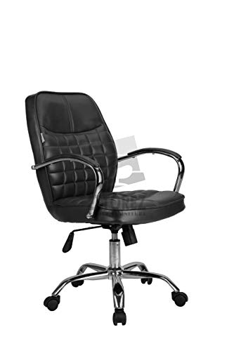 ETTOREZ Height Adjustable Mid-Back Revolving Executive Visitor and Study Chair for Work from Home and Office Use Available in Black Color (UZ- 126, Black)