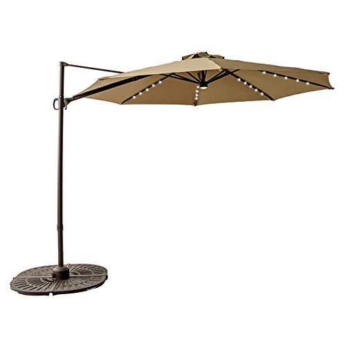 FLAME&SHADE 10 ft Cantilever Offset Outdoor Patio Umbrella with Solar LED Lights and Tilt - Beige