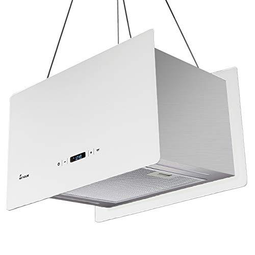 Cappa aspirante ad isola (60 cm, acciaio inox, vetro bianco, extra silenziosa, 674m/h, 4 gradini,...