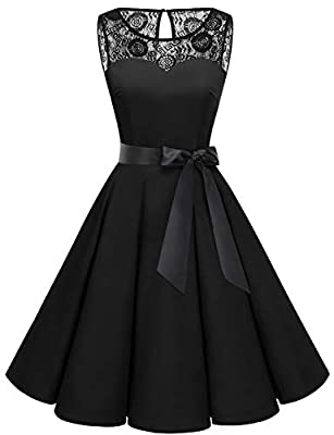 Features:50s style homecoming dress,round neck with Lace,sleeveless,keyhole back with zipper closure,knee length, with a removable belt Style: Women's rockabilly Dress 1950s vintage audrey hepburn style rockabilly pinup sleeveless polka dot floral pr...