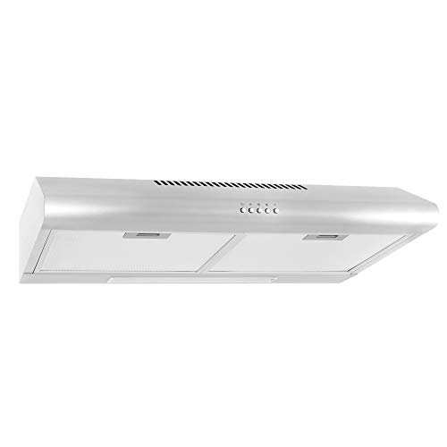 Cosmo 5MU30 30-in Under-Cabinet Range Hood 200-CFM   Ducted/ Ductless Convertible Top/ Rear Duct, Slim Kitchen Stove Vent with LED Light, 3 Speed Exhaust Fan, Reusable Filter ( Stainless Steel )