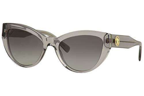 313iJ81DDJL Brand: Versace Model: VE4381-B Style: Fashion Cat Eye Temple/Frame Color: Grey Crystal - 593/11 Lens Color: Grey Gradient Size: Lens-53 Bridge-19 B-Vertical Height-42.6 ED-Effective Diameter-60.6 Temple-140mm Gender: Women's Frame Material: Plastic Geofit: Global