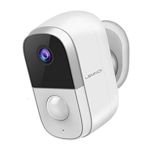 Lemnoi Telecamera di Sorveglianza Batteria WIFI Esterno 1080p,Telecamera di Sorveglianza di Sicurezza IP,Visione Notturna, Rilevamento del Movimento PIR, Impermeabile IP65,Audio Bidirezionale