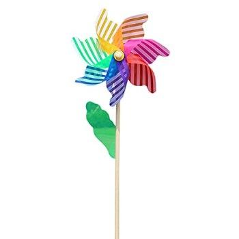 Washranp Moulin à vent de jardin léger et portable, 7 feuilles, jouet coloré pour enfants et adultes, idée cadeau, décoration d'extérieur multicolore