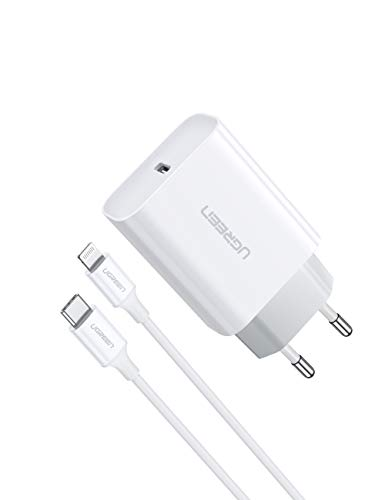 UGREEN Caricatore iPhone 18W con Cavo USB C a Lightning (MFI) Power Delivery 3.0 Caricabatterie USB C PD Ricarica Rapida Compatible with iPhone 11 PRO Max XS Max XR X 8 iPad PRO 2018 iPad Air 2019