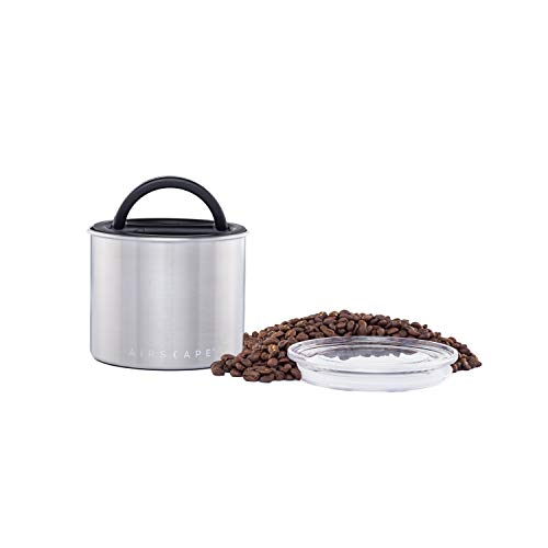 Airscape Coffee and Food Storage Canister - Patented Airtight Lid Preserve Food Freshness, Stainless Steel Food Container, Brushed Steel, Small 4-Inch Can