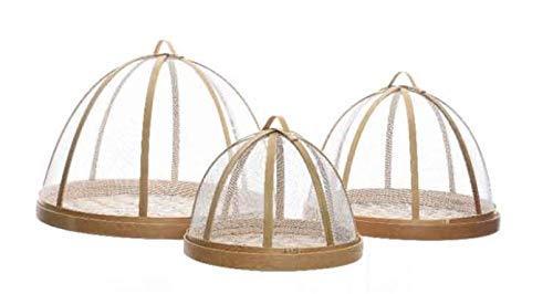 E+N Abdeck-Hauben Fliegen-Haube Moskito-Haube Fliegen-Schutz Outdoor, mit Teller 3er Set Natur aus Bambus