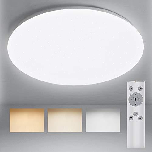 Deckenlampe Dimmbar mit Fernbedienung, BIGHOUSE 18W 1600lm LED Deckenleuchte 2700K-6500K, Ersatz für 100W Halogenlampen, IP44 Wasserfest für Badezimmer, Wohnzimmer, Balkon, Flur Küche, Ø30cm
