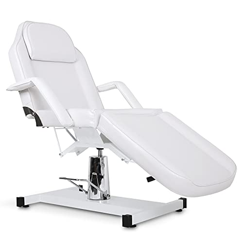 Paddie Hydraulic Tattoo Table Bed, Facial Bed Adjustable Swivel for Salon Spa Massage Esthetician Lash Microblading, White
