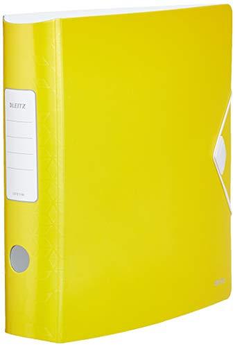 Leitz Qualitäts-Ordner 180° Active WOW, A4, Gelb, 80 mm Rückenbreite, Gummibandverschluss, Leichtes Polyfoam, WOW, 11060016