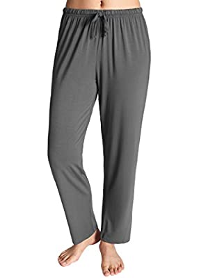 95% Viscose (made from Bamboo), 5% Spandex High quality viscose(viscose made from bamboo) Elastic waistband with adjustable drawstring Comfortable straight-leg bottoms perfect for everyday sleep clothes Machine wash cold gentle, do no bleach, iron lo...