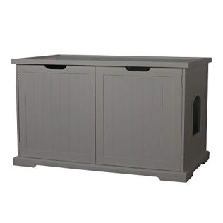 Merry-PTH1031722510-Pet-Cat-Washroom-Storage-Bench-Furniture-with-Removable-Partition-Wall-Gray