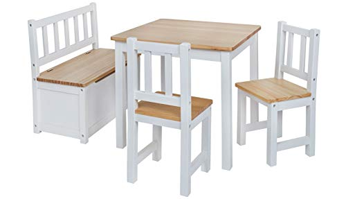 Original IMPAG® Kinder-Sitzgruppe   Großes Kinderzimmer Set 1 Tisch, 2 Stühle, 1 Truhenbank mit Qualitäts-Beschlag   Nordische Fichte   Ergonomisch   Top Möbel-Qualität