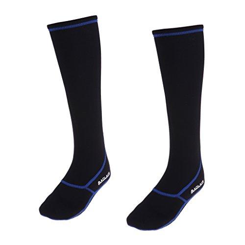 Baoblaze Damen Herren Tauchsocken Neoprene 3mm Neoprensocken Neopren Socken Beachsocken Sandsocken Sportswear - schwarz blau XL