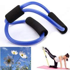 Generic 3X Yoga Resistance Bands Tube Fitness Muscle Workout Exercise Tubes 8 Type Blue