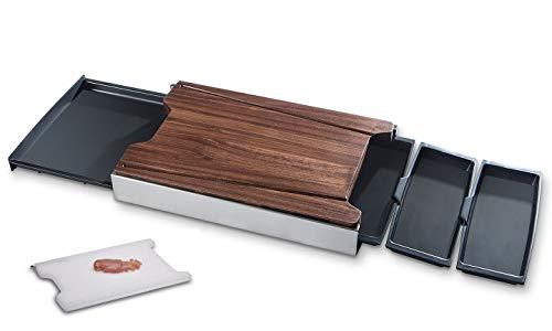 Schneidbox Nussbaum Schneidebrett mit Auffangbehälter inkl. Kunststoff-Brett, spülmaschinengeeignetes, rutschfestes Küchenbrett mit Trennsystem