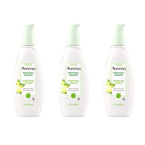 Aveeno Positively Radiant Brightening Facial Cleanser for Sensitive Skin, Non-Comedogenic, Oil-Free, Soap-Free & Hypoallergenic, 6.7 fl. oz (Pack of 3)