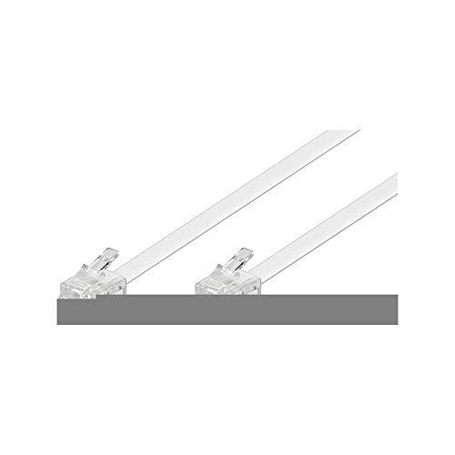 Goobay 93063 Modularanschlusskabel 10 Meter, Weiß - RJ11/RJ14-Stecker (6P4C) auf RJ11/RJ14-Stecker (6P4C)