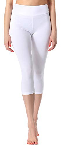 Merry Style Leggings 3/4 Pantaloni Capri Donna MS10-220 (Bianco, 4XL)