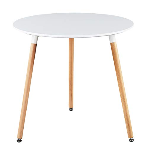 GreenForest Round Dining Table 32', Modern White Kitchen Dining Room Table Small Wooden Leisure Coffee Table for Home Office Living Room Lounge,Easy Assembly