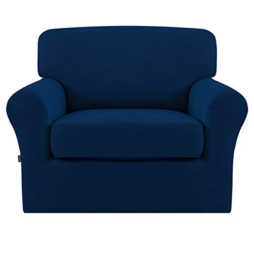 Easy-Going 2 Pieces Microfiber Stretch Couch Slipcover – Spandex Soft Fitted Sofa Couch Cover, Washable Furniture Protector with Elastic Bottom for Kids,Pet (Chair,Navy)