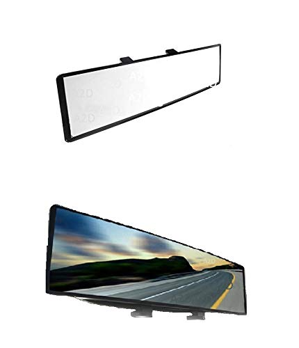 A2D Snap Fitment Wide Angle Interior Large Rear View Mirror Glass for Better Viewing