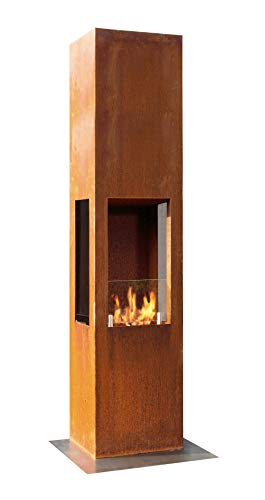 Muenkel Design Prism Fire L [Bioethanol Fireplace 3-sided View Premiu Rust Patina