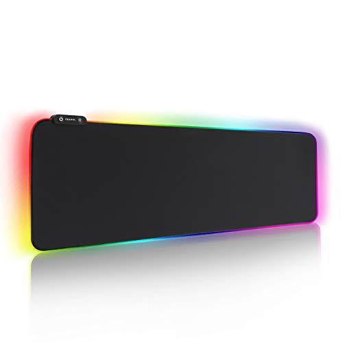 REAWUL RGB Gaming Mauspad Groß - 7 LED Farben 14 Beleuchtungs-Modi Gaming Mouse Mat, Rutschfester Gummibasis und Wasserdichter Oberfläche Tastatur Mouse Pad - 800 x 300 x 4 mm