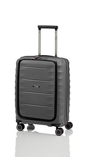 TITAN 4-Rad Bordtrolley mit Vortasche, Handgepäck erfüllt IATA-Bordgepäckmaß, Gepäck Serie HIGHLIGHT: Leichte Hartschalen Trolleys im Carbon Look, 842409-04, 55 cm, 42 Liter, anthracite (grau)