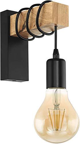 EGLO Wandlampe Townshend, 1 flammige Vintage Wandleuchte im Industrial Design, Retro Lampe aus Stahl und Holz, Farbe: schwarz, braun, Fassung: E27