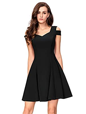 Sweetheart neckline, above the knee, hidden back zipper, sexy v-back, cold shoulder, short sleeves A-line dress. A full skater skirt creates a flattering fit and flare silhouette make you look chic yet elegant. This semi-formal party dress suitable f...