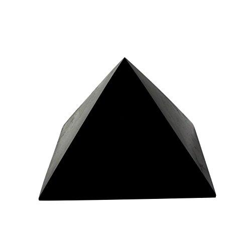 Heka Naturals Pirámide de Piedra Shungit Pulida 15 cm con Fullerenos   Auténtica Piedra Shungita de Karelia, Rusia   Pirámide Pulida de 15 cm