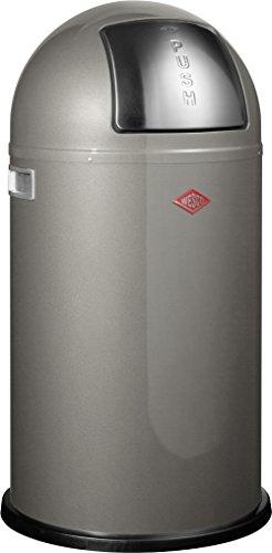 Wesco 175 831 Pushboy Abfallsammler 50 Liter Graphit 40 x 40 x 75.5cm (L/B/H), Edelstahl