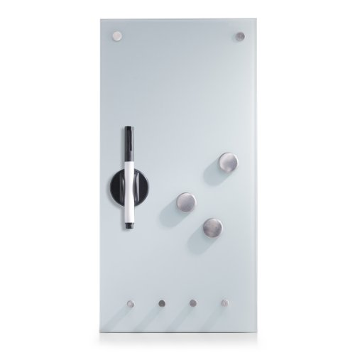 Zeller 11610 Lavagnetta magnetica in vetro con ganci, 20 x 4 x 40 cm, calamite incluse, colore:...