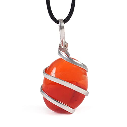 Raw Tumbled Carnelian Crystal Healing Pendant Necklace - for...
