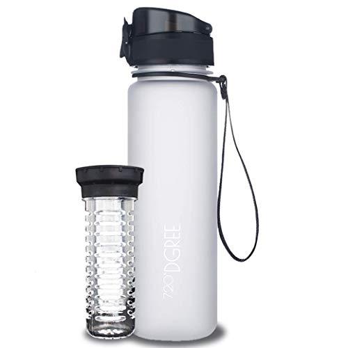 720°DGREE Water Bottle 'uberBottle' +Fruit Infuser - 500ml - BPA-Free, Leakproof - Reusable Tritan Sports Bottle for Fitness, Workout, Bike, Outdoor, Yoga - Lightweight, Sustainable