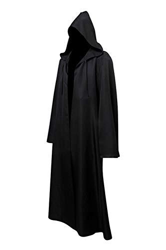 Helymore Cabo de Guerrera Medieval con Capucha Disfraz de Monje Vintage Disfraz de Soldado Negro, L