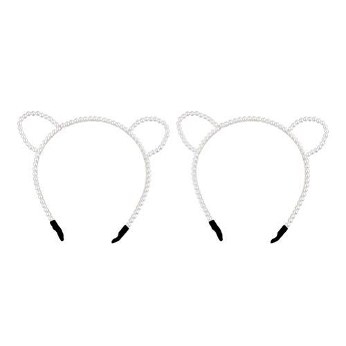 Pixnor pã©rola orelha de gato headband strass headband com orelhas de gato para festa a fantasia 2pcs