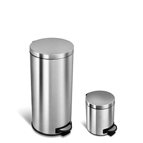 NINESTARS CB-SOT-30-1/5-1 Step-on Trash Can Combo Set, 8 Gal 30L & 1.2 Gal 5L, Stainless Steel Base (Round, Stainless Steel Lid)
