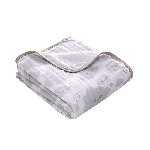 Miracle Baby Musselin Babydecke, Superweich Baumwolle Kuscheldecke, Zwei Lagen Decke Pucktüche für Kinder et Baby Kinderwagen und Babyschale 150x110 cm (Wolke)