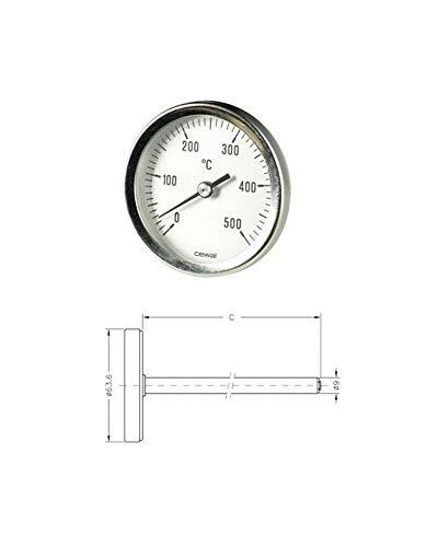 Pirometro Termometro 0-500 Bimetallico Forno Stufa Sonda 30cm 91636300 Cewal